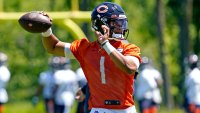 Justin Fields during a Chicago Bears practice