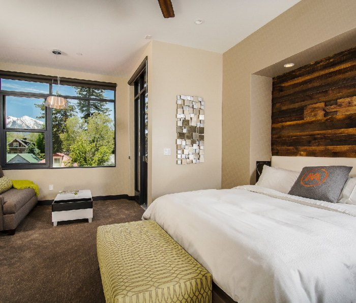 A room at Marble Distilling Co's The Distillery Inn with views of the Colorado mountains.