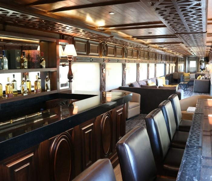 Interior of the Jose Cuervo Express train with tequila bar.