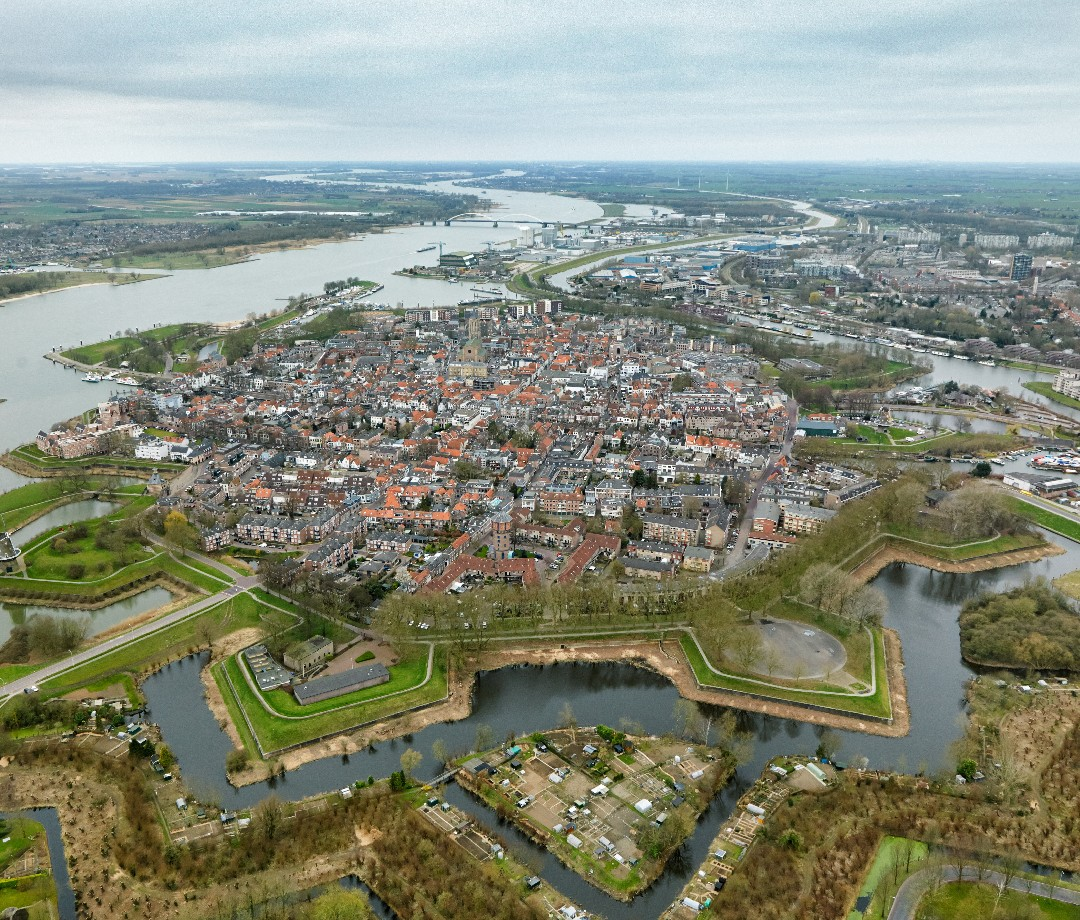 An aerial view of a fort surrounded by water in The Netherlands.
