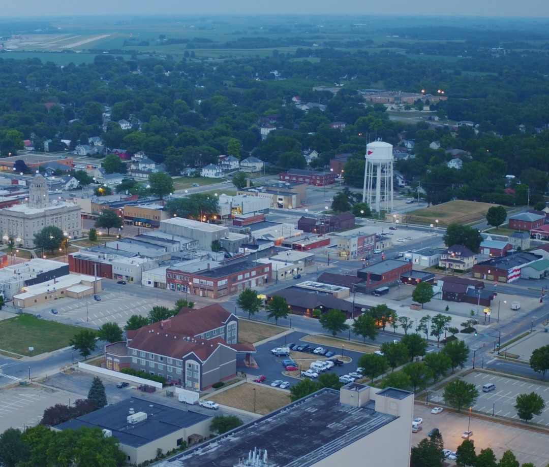 A view from the air of Newton, Iowa.