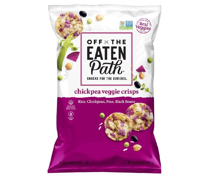 A white and purple bag of Off the Eaten Path - Veggie Crisps.