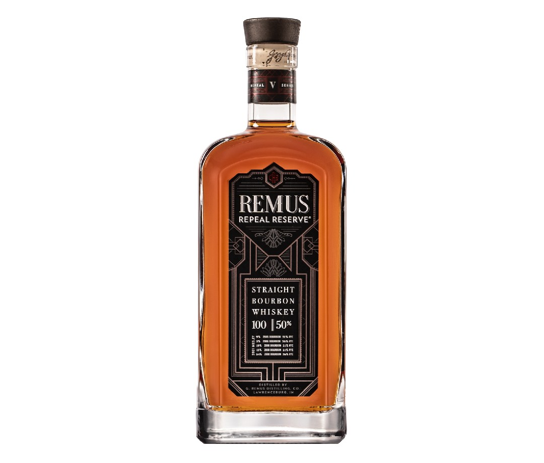 A bottle of Remus Repeal Reserve that is scheduled to be released in September 2021.