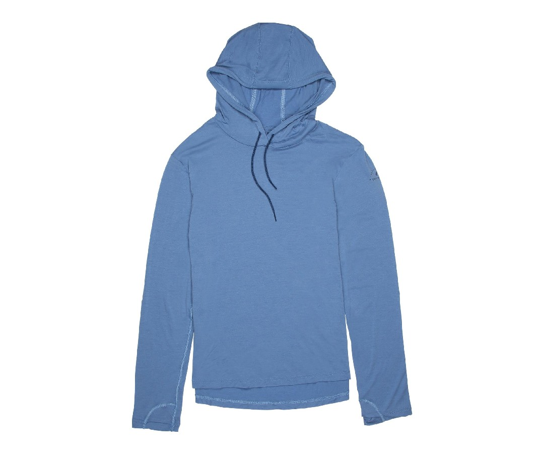 ThisRidge Merino Solstice sun hoodie is the ideal thickness to keep me warm when the weather is cold, and cool when it's hot. It dries faster than any other sun hoodie I've tried, so breaking sweat on an alpine summit doesn't compromise my R-value.