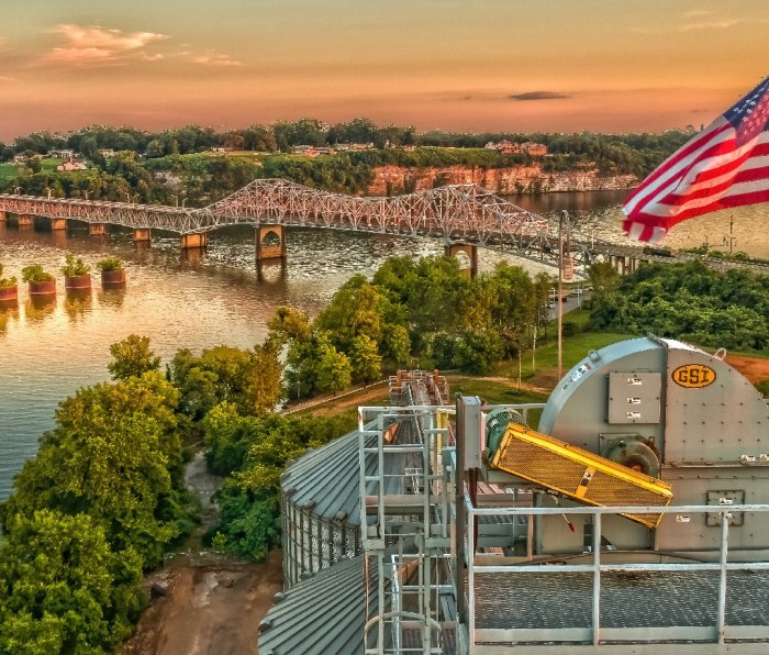 A view overlooking the Tennessee River toward the city of Muscle Shoals, Alabama.
