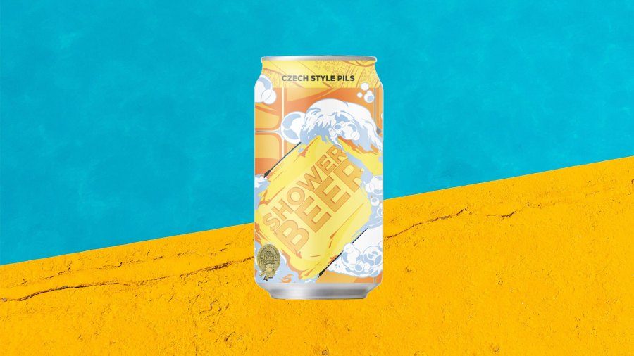 Champion Shop Shower Beer against blue and yellow backgrounf