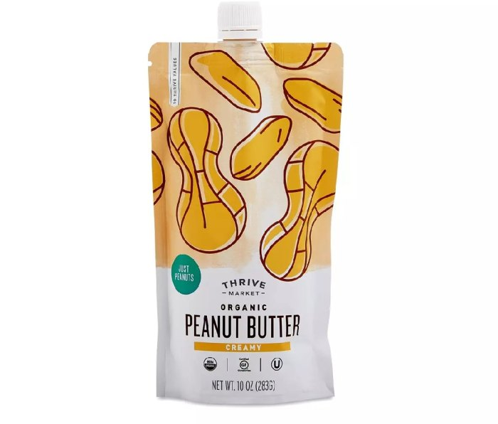 A pouch of Thrive Market Organic Creamy Peanut Butter.