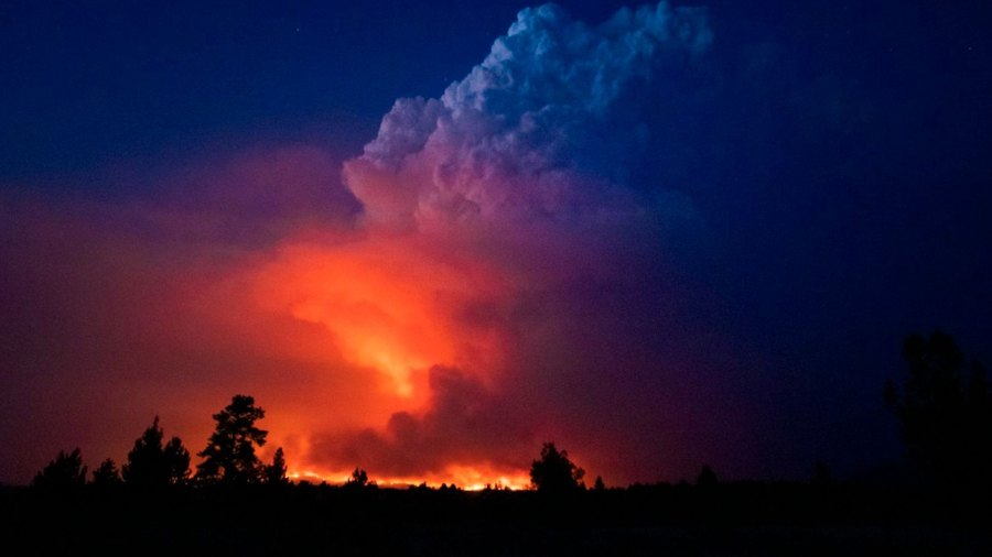 A nighttime view of fire and smoke from Oregon's Bootleg Fire.