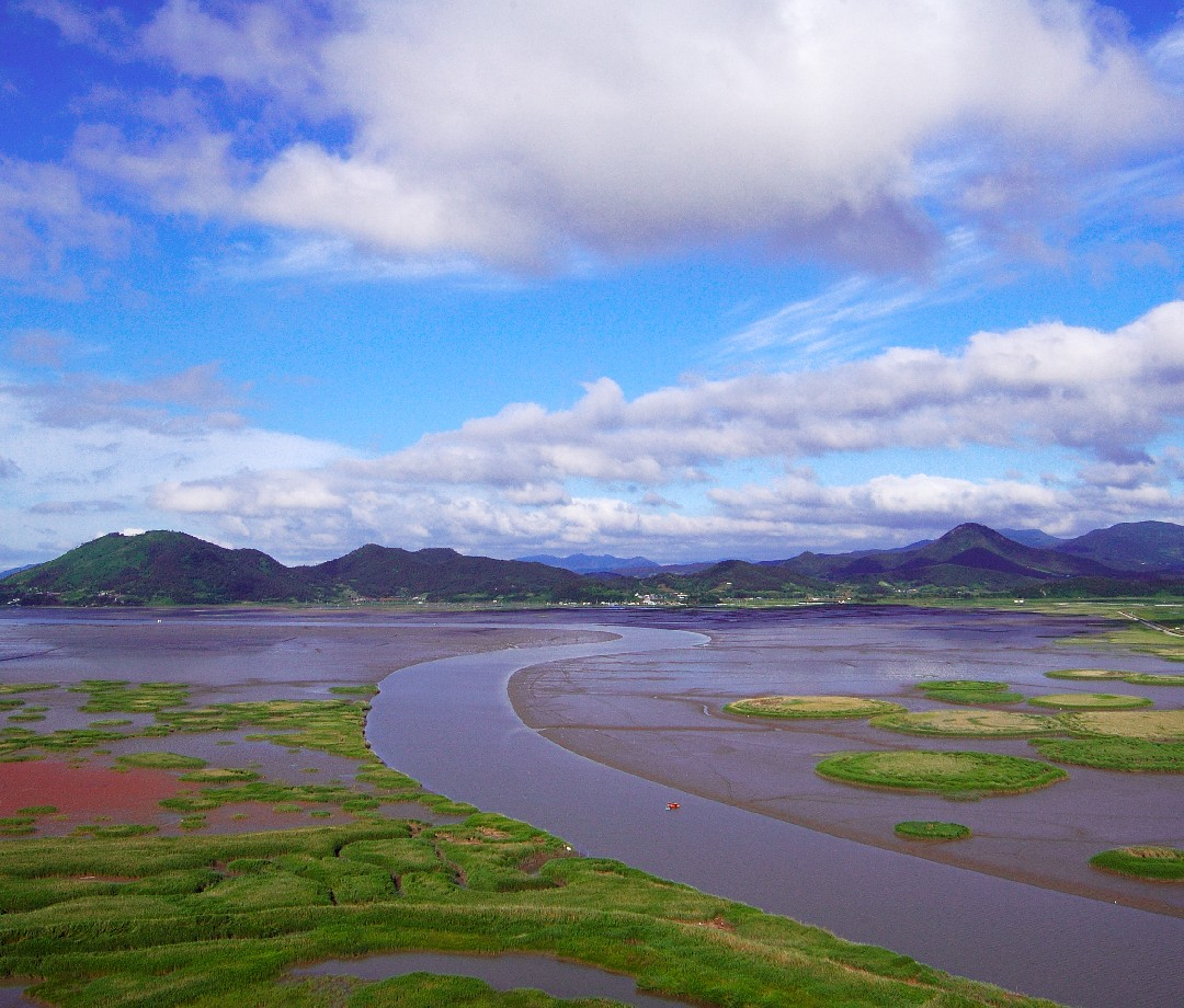 An aerial view of Korean Tidal Flats on the Yellow Sea.