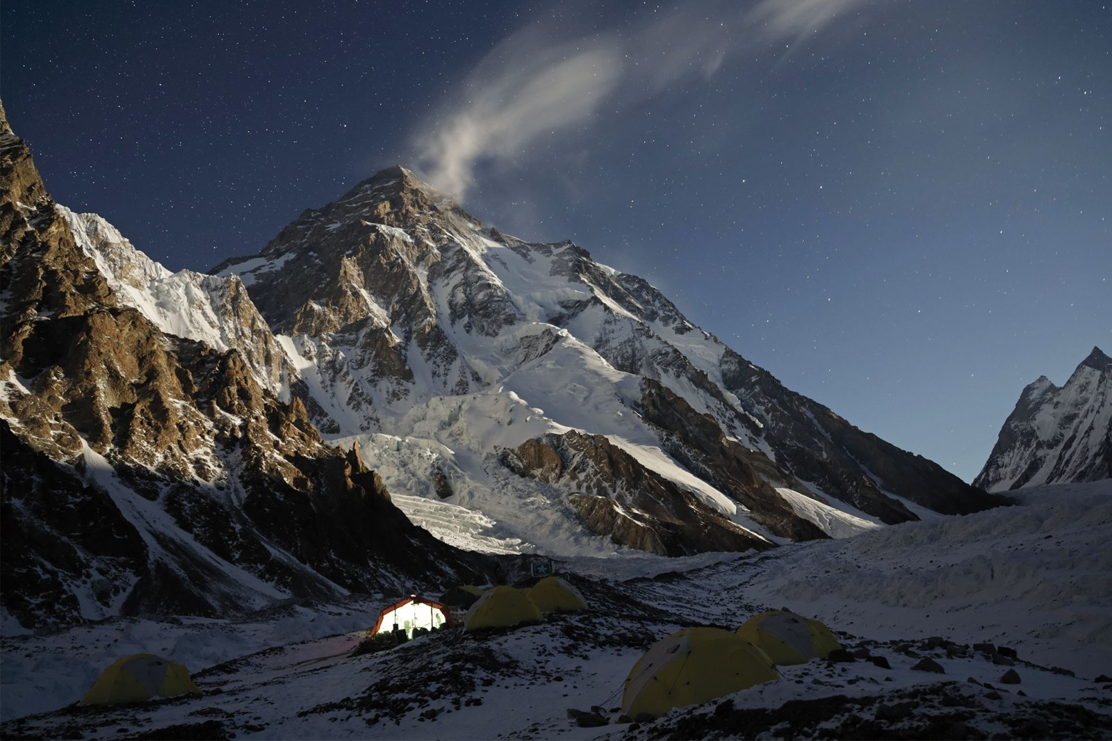 Panoramic view of K2 mountain at nighttime with stars in sky