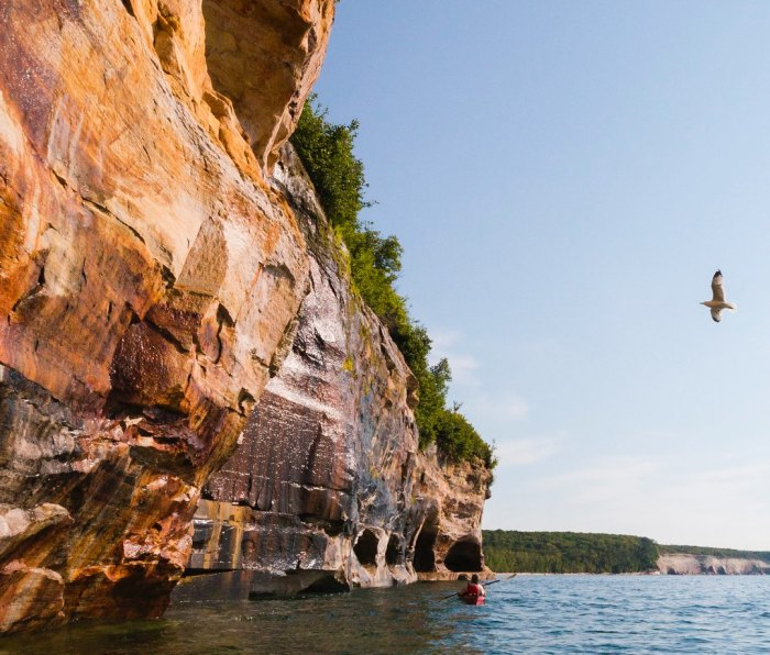Pictured Rocks is an extraordinary place to paddle in fair weather.