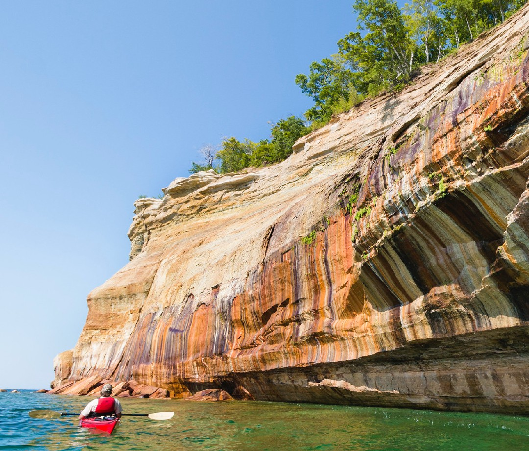 The colorful sandstone cliffs of Pictured Rocks National Lakeshore