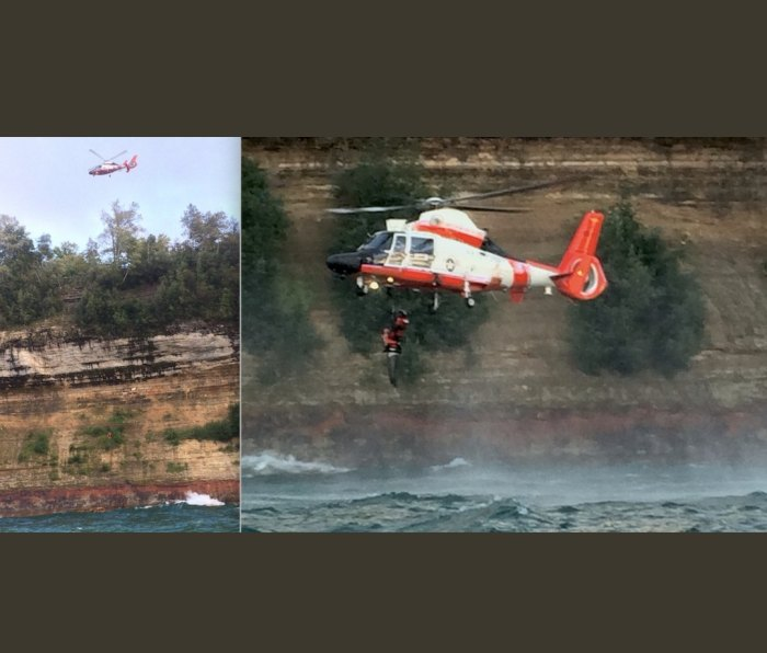 The aircrew hoisted Jim from an unusually high altitude in order to stay clear of the cliff and trees, then moved over the lake to reel him to the aircraft.