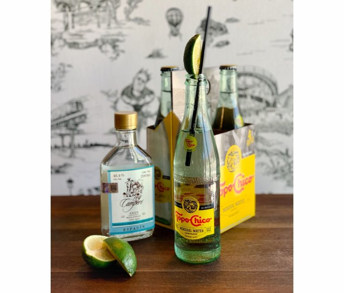 Ranch water cocktail made of mezcal and Topo Chico sparkling water
