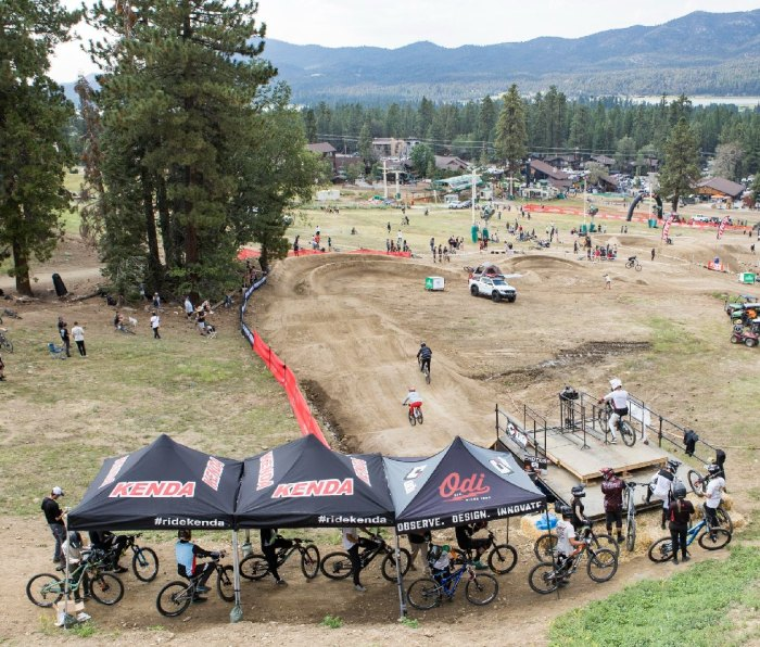 A view from above of the 2nd Annual Strait Acres Dual Slalom Invitational went off at Snow Summit Resort in Big Bear Lake, California.