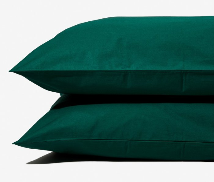 Pillows with covers from the Ash & Fir Percale Sheet Set.