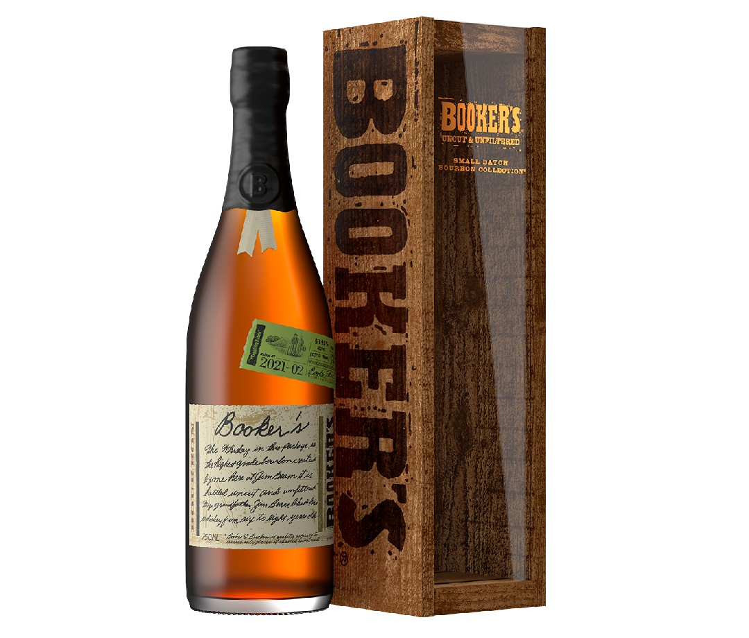 A bottle and box for Booker's bourbon.