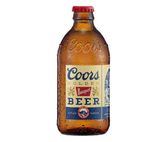 A bottle of Molson Coors Beverage Company Coors Banquet Beer.
