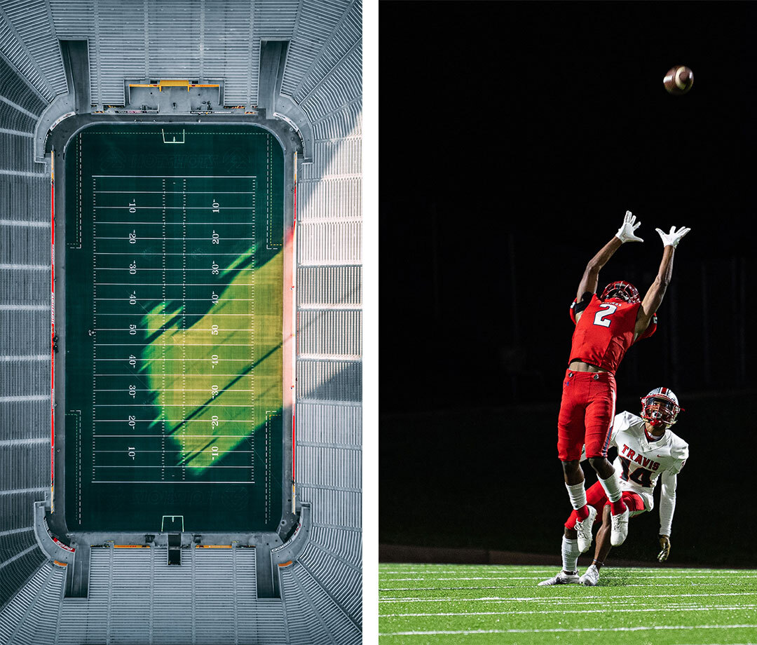 Composite image of stadium and college football player catching ball in the air
