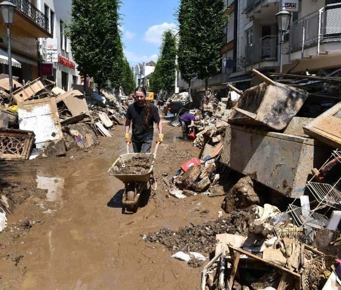 Clean-up after July floods in Bad Neuenahr-Ahrweiler, Germany.