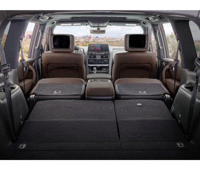 Interior of SUV with seats down