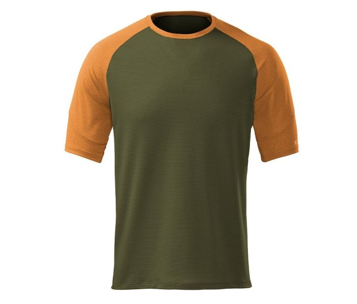 A picture of an orange and green Kitsbow Superflow Cooling Tee.
