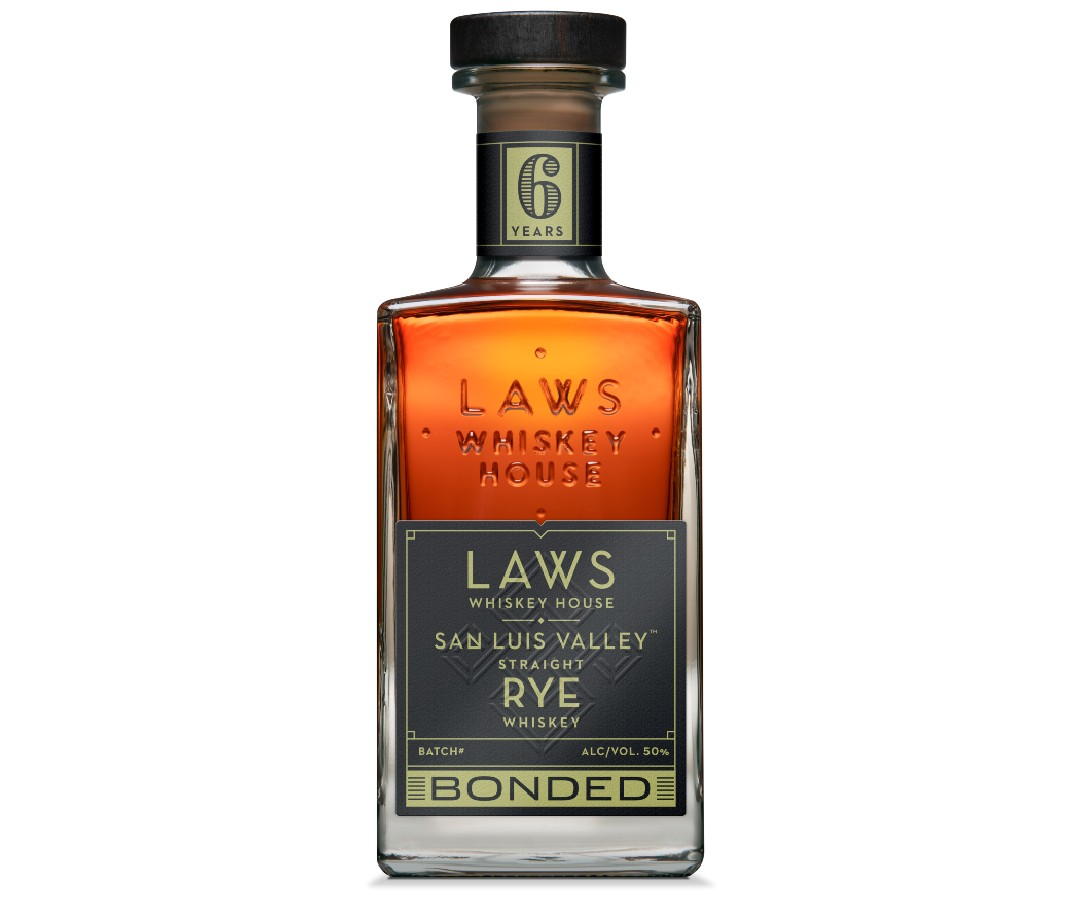 A bottle of Laws Saint Luis Valley Straight Rye.