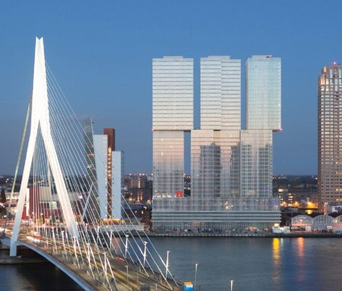 A view of the Nhow Rotterdam in Rotterdam, Netherlands.
