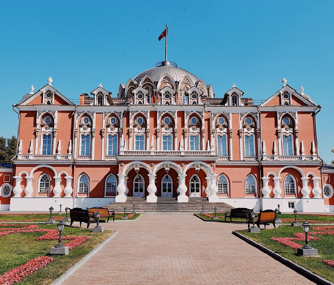An exterior image of the Petroff Palace in Moscow, Russia