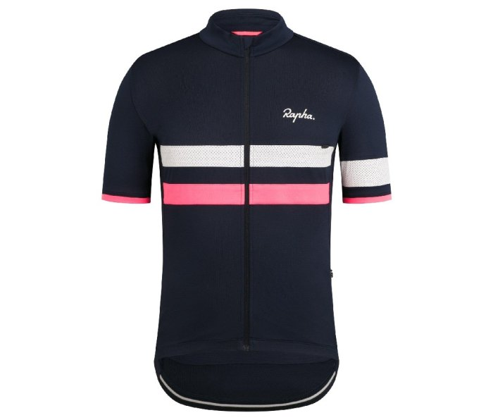 An image of a navy blue Rapha Brevet lightweight jersey with white and pink stripes.