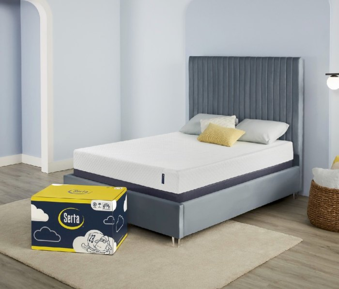 An image of the Serta EZ Tote mattress on a bed, next to its box.