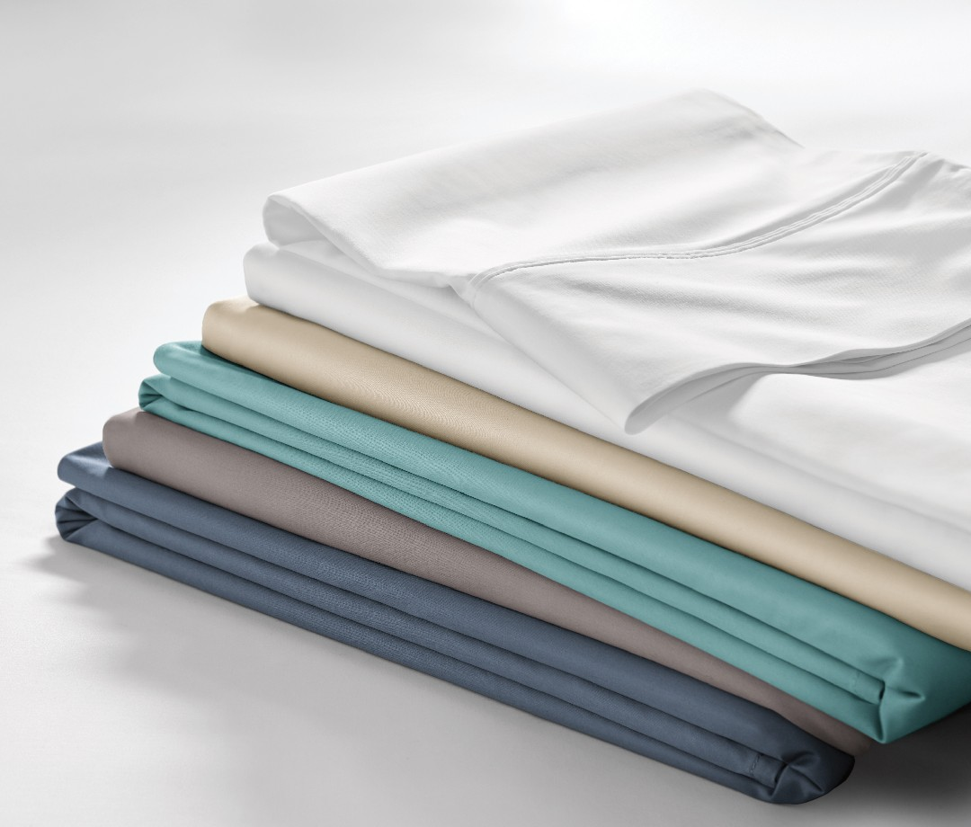 A selection of Sleep Number True Temp collection sheets in different colors.