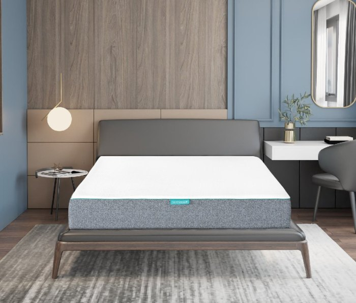 A picture of the Sleepenvie Sofie Mattress on a bed frame.