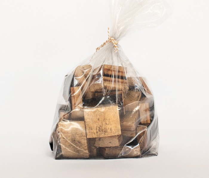 A bag of Tattersall Whiskey Barrel Smoking Wood Chips.