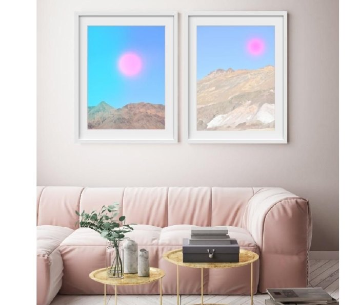 """Diptych style pair of paintings above a couch called """"Pink Moon"""" by Artsugar"""