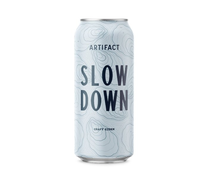 Tall can of Artifact Cider Project Slow Down cider