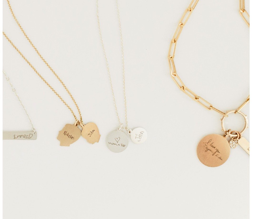 Set of engraved necklace pieces from Vana Chupp