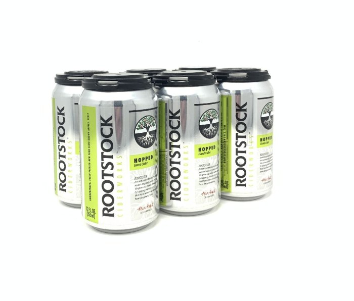 6-pack cans of Rootstock hopped cider