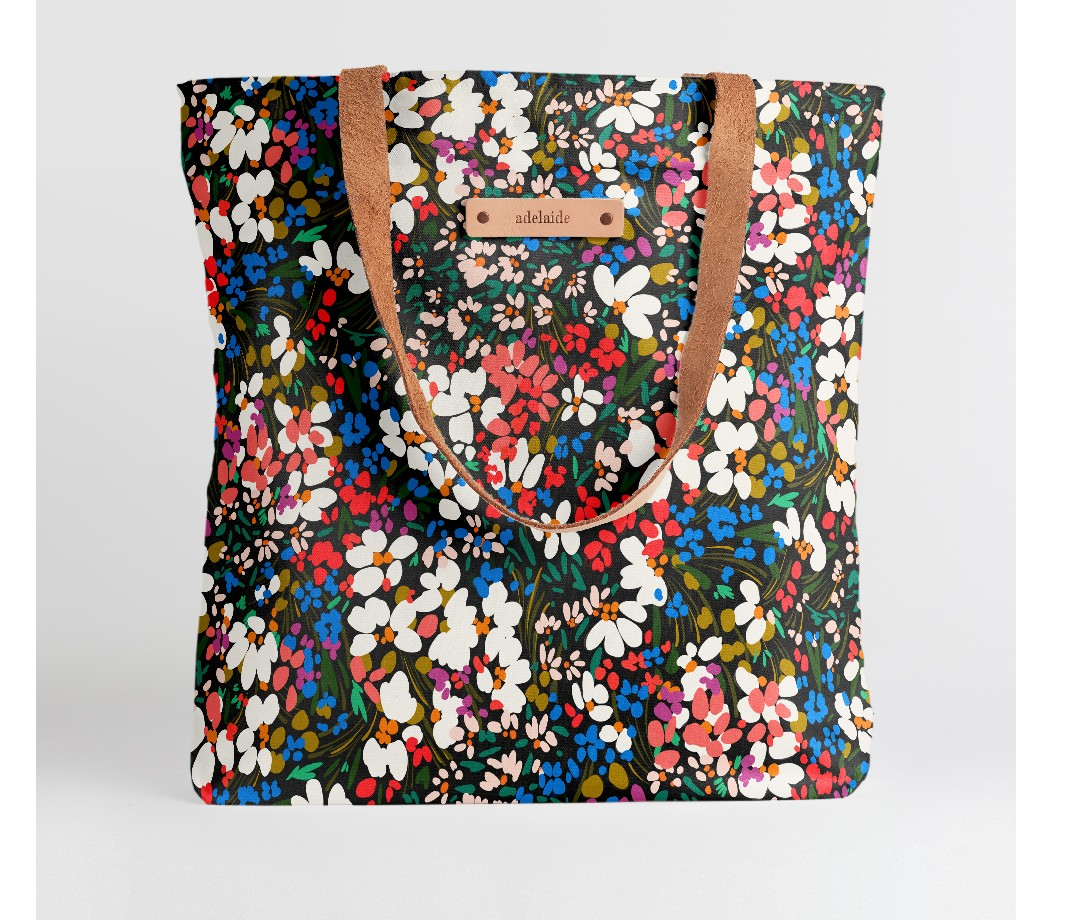Minted. Snap Tote bright floral-style bag with brown leather strap