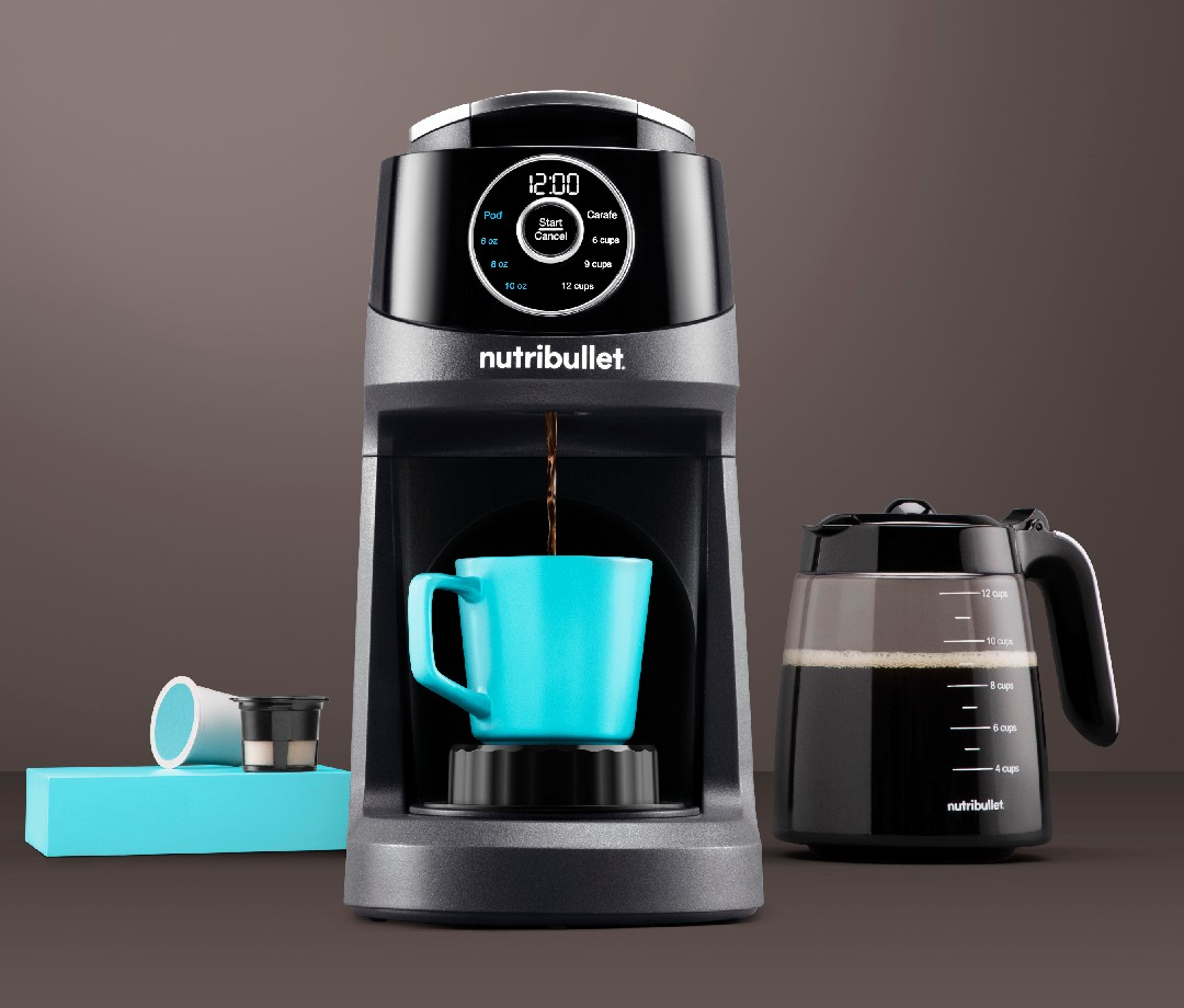 nutribullet Brew Choice Pod + Carafe with full put of coffee and turquoise cup
