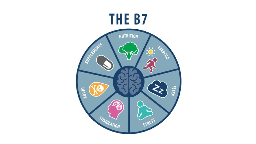 The seven diet and lifestyle sections of the B7 include Nutrition; Exercise; Sleep; Stress; Stimulation; Detox; and Supplements.