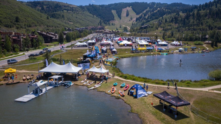 An aerial photo of the 2021 Big Gear Show, hosted at Deer Valley Resort in Park City, Utah with tents, displays, and outdoor gear.