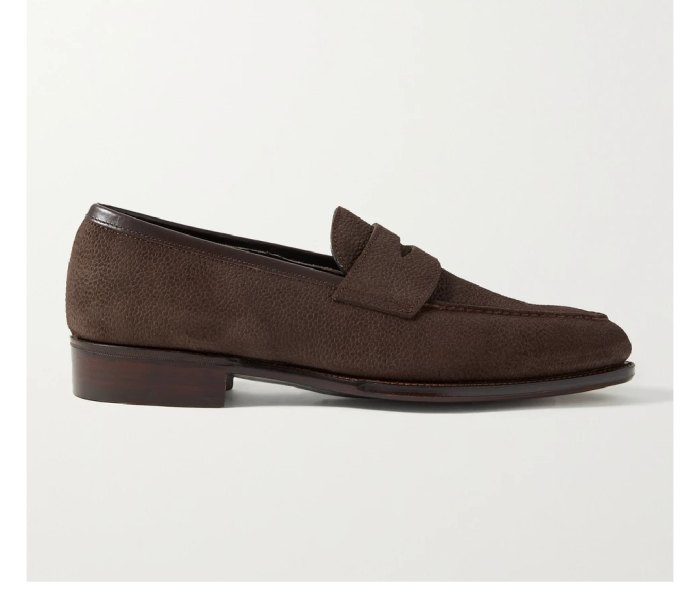A George Cleverley Bradley III Leather-Trimmed Pebble-Grain Suede Penny Loafer