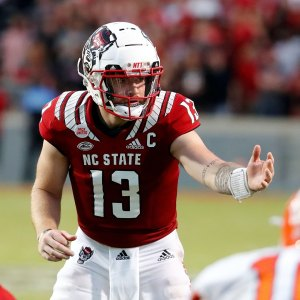 college football week 4 NC State quarterback Devin Leary calls a play