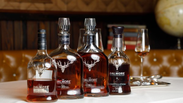 Lineup of whisky bottles