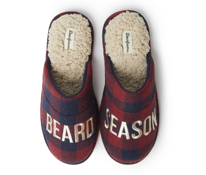 Pair of red plaid Dearfoam Slippers with