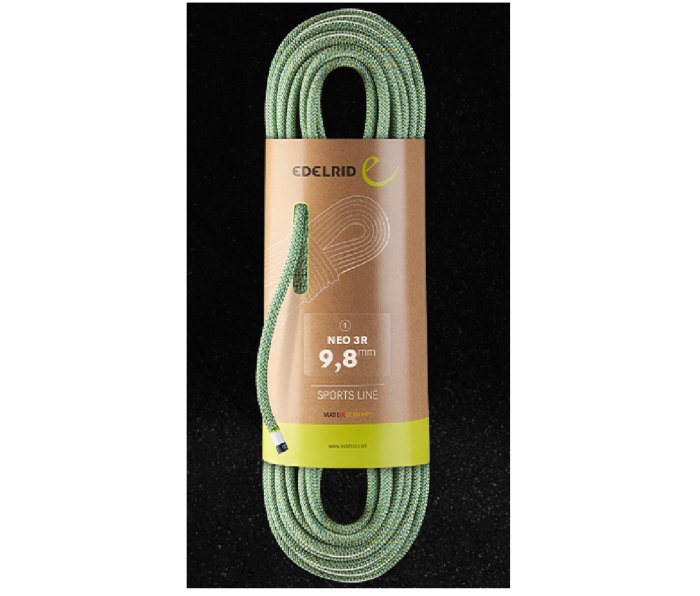 Edelrid Neo 3R 9.8 mm rope, green, coiled, in packaging