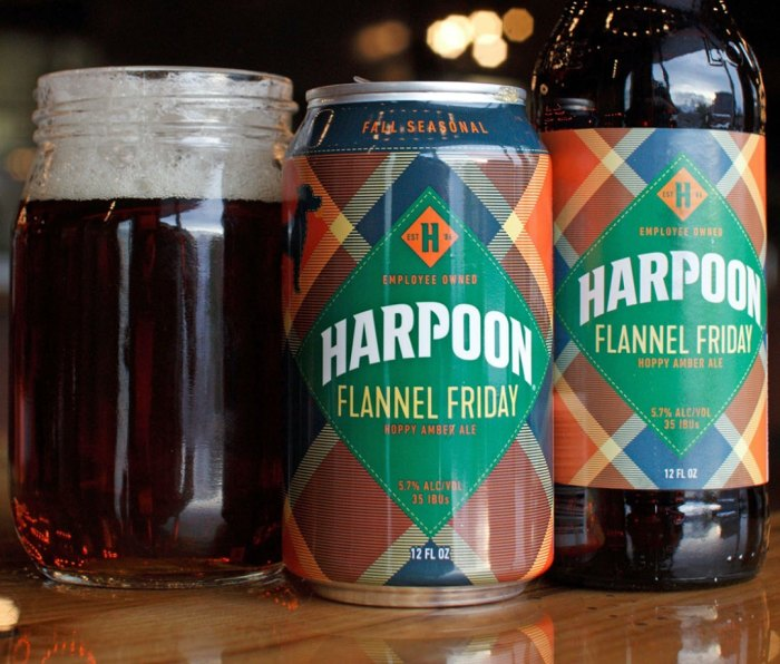 Harpoon Flannel Friday fall beer in a mug, a can, and a bottle