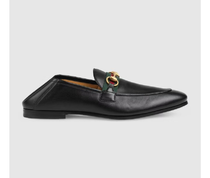 A Gucci Men's Leather Horsebit Loafer with Web
