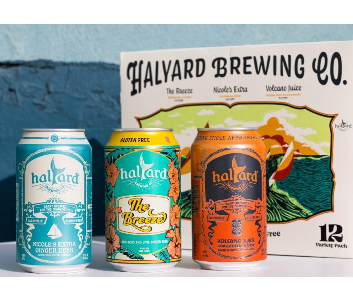 Three cans of hard ginger beer from Halyard Brewing Company
